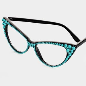Accessories - Crystal Cat Eye Clear Lens Sunglasses